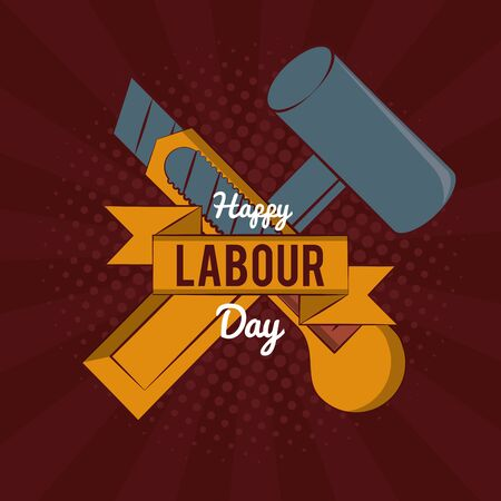 Happy labour day card with construction tool and ribbon banner vector illustration graphic design Vector Illustratie