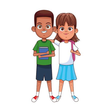 happy boy and girl wearing casual clothes over white background, vector illustration 向量圖像
