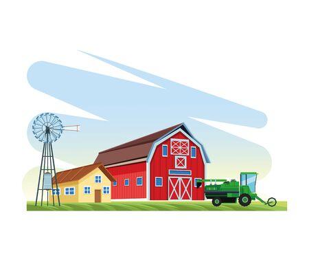 farming agriculture truck house barn windmill vector illustration
