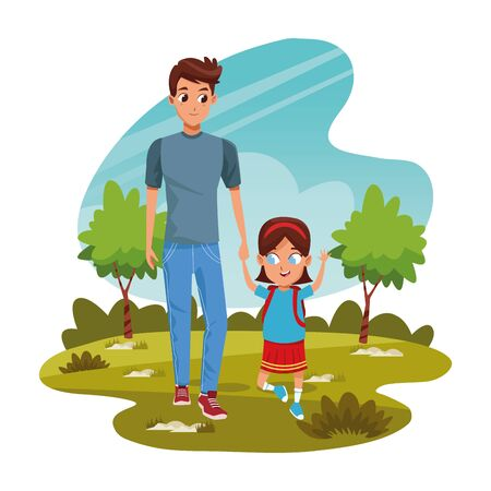 Happy man with his daughter in the park over white background, colorful design, vector illustration