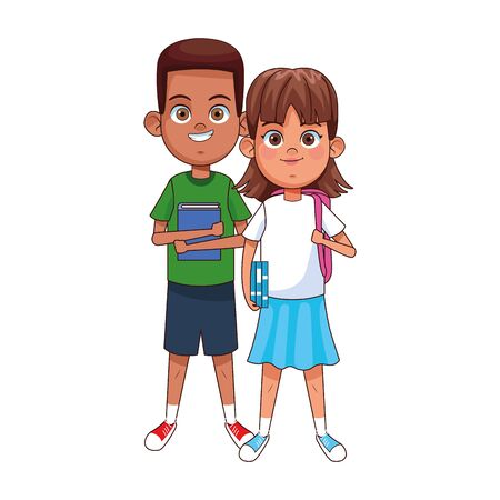 happy boy and girl wearing casual clothes over white background, colorful design, vector illustration