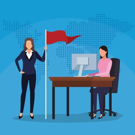 businesswomen with flag and working computer world success start up business vector illustration Иллюстрация