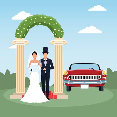 floral arch, just married couple and red classic car over landscape background, colorful design, vector illustration