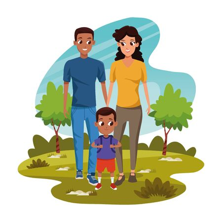 Cartoon man and woman with little boy in the park over white background, colorful design, vector illustration