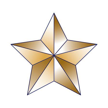 golden star icon over white background, vector illustration