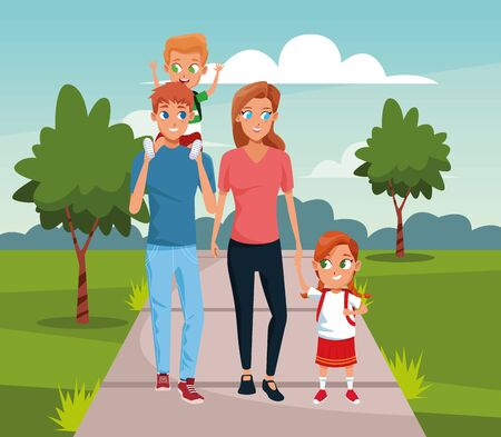 Happy family walking with kids over landscape background, colorful design, vector illustration Vectores