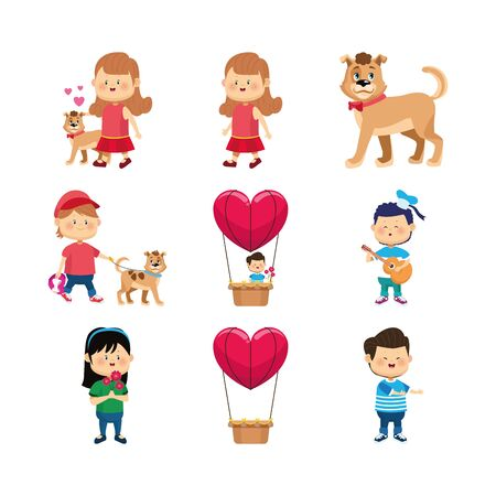 icon set of happy girls, boy and dogs over white background, vector illustration