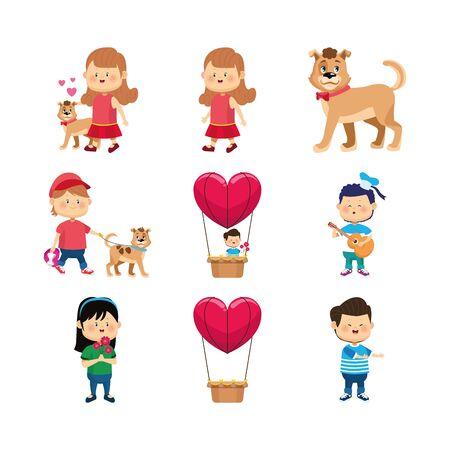 zestaw ikon szczęśliwy dziewcząt, chłopca i psów na białym tle, ilustracji wektorowych