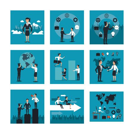 bundle of business people working vector illustration design