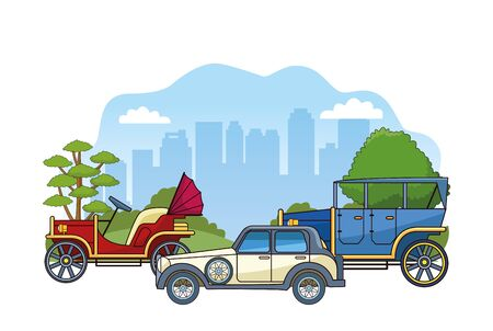 classic cars over urban city landscape and white background, colorful design, vector illustration Ilustracja