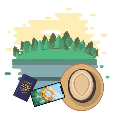 world travel scene with smartphone and icons vector illustration design  イラスト・ベクター素材