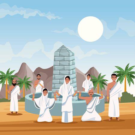 muslims persons in hajj mabrur travel celebration vector illustration design