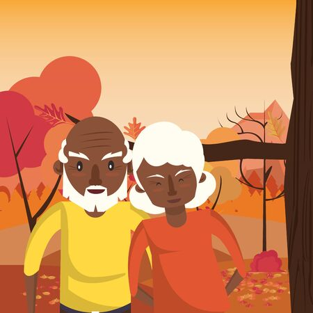 afro grandparents couple lovers in sunset landscape vector illustration design
