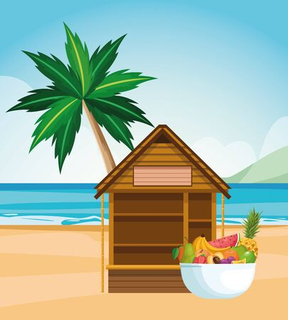 beach landscape with house and bowl with tropical fruits, colorful design , vector illustration Illustration