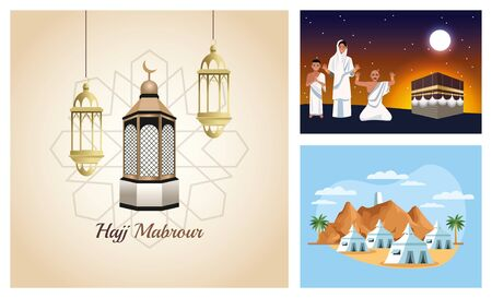 bundle of muslims persons in hajj mabrur travel scenes vector illustration design Illustration