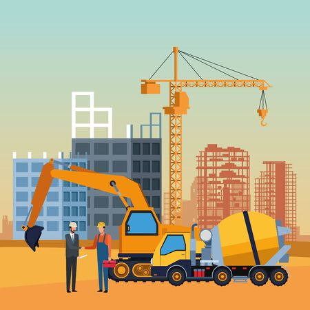 construction trucks and workers over under construction scenery, colorful design, vector illustration