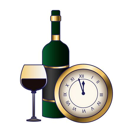 vintage clock with wine glass and bottle icon over white background, colorful design, vector illustration
