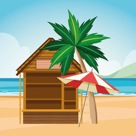 log cabin and parasol at the beach, colorful design , vector illustration