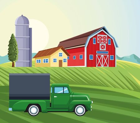 farming silo storehouse pickup truck house barn field vector illustration
