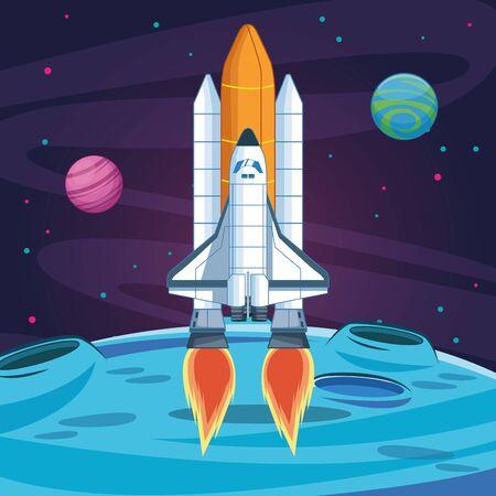 launching spacecraft planets stars space exploration vector illustration Ilustração Vetorial