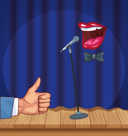 hand like mouth microphone stand up comedy show vector illustration