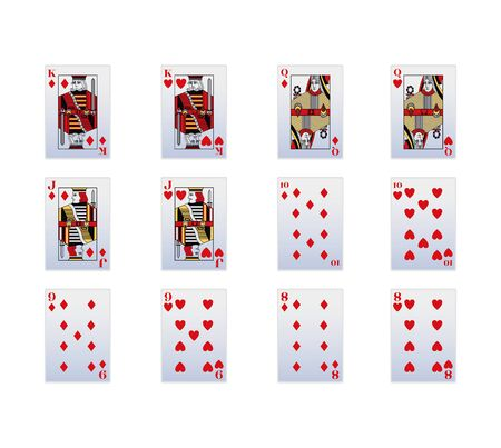 Spade and diamonds playing cards icon set over white background, vector illustration