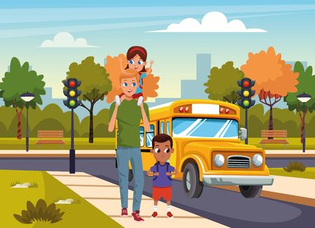 Cartoon man with kids walking in the street over school bus and park background, colorful design, vector illustration