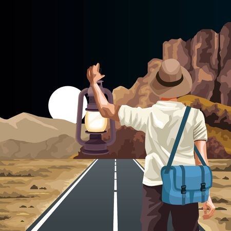 Beautiful Western landscape with traveler man with bags and lantern, colorful design, vector illustration