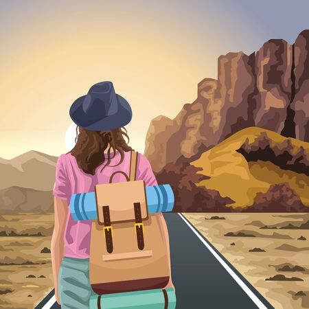 Beautiful Western landscape with traveler woman standing , colorful design, vector illustration