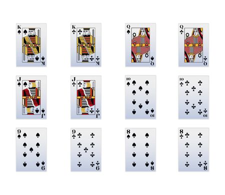 Cards of spade and Club suit icon set over white background, vector illustration