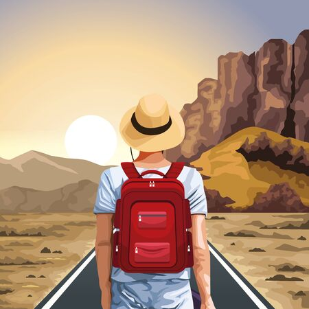 beautiful western sunset landscape with traveler man standing with hat and red backpack, colorful design, vector illustration