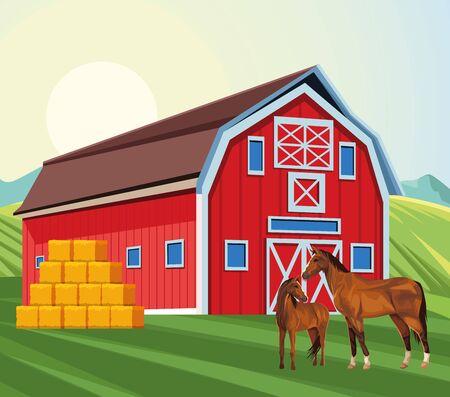 granja, granero, caballos, y, fardos, de, heno, campo, granja, vector, ilustración