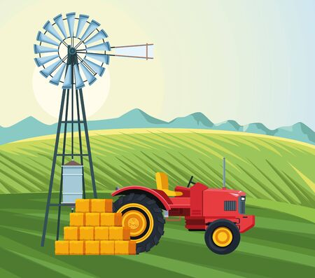 farming field with tractor windmill and bales of hay farm vector illustration