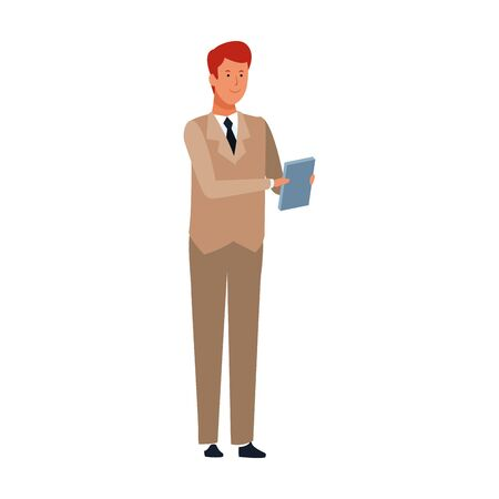 cartoon businessman wearing suit and tie icon over white background, vector illustration