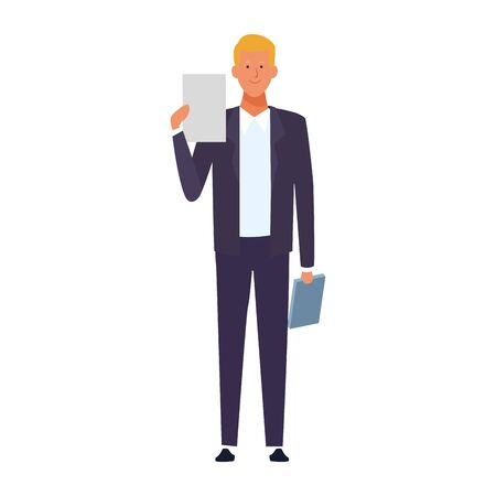 cartoon businessman standing and holding documents icon over white background, colorful design. vector illustration