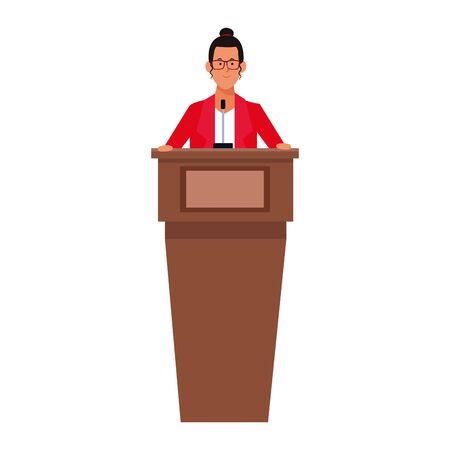 cartoon businesswoman behind a podium icon over white background, vector illustration