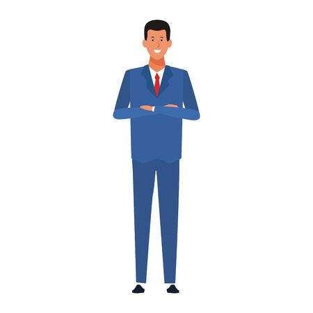 cartoon businessman standing and smiling icon over white background, colorful design. vector illustration