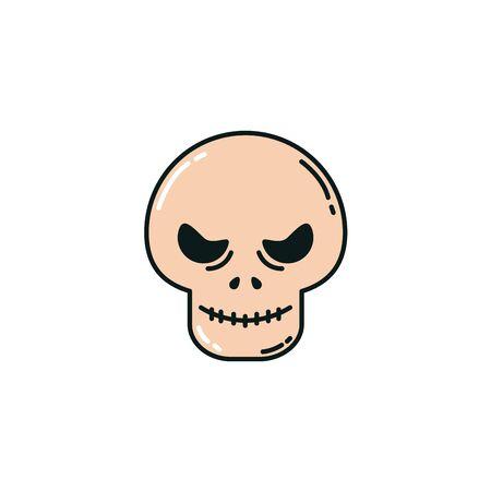 skull head halloween flat icon vector illustration design