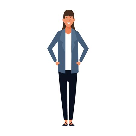 cartoon businesswoman standing icon over white background, colorful design. vector illustration