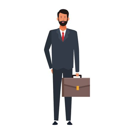 cartoon businessman standing and holding a briefcase icon over white background, vector illustration Vecteurs