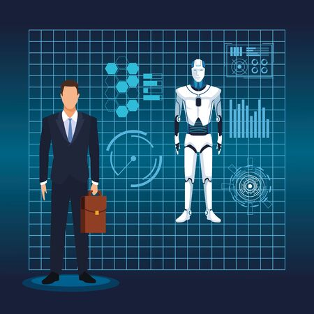 artificial intelligence technology man and cyborg virtual reality vector illustration