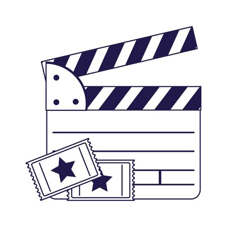 movie clapboard and cinema tickets over white background, flat design, vector illustration