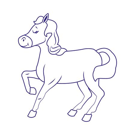 cartoon horse icon over white background, vector illustration