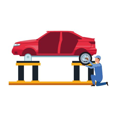 car mechanic with car at lifting over white background, vector illustration Stock Illustratie