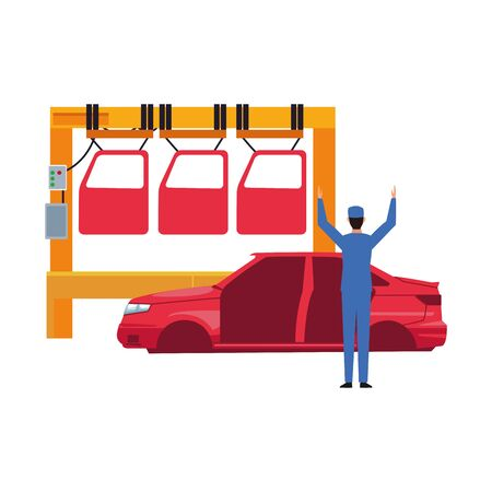 car repair design of machine with cars doors and mechanic with car body over white background, colorful design, vector illustration Illustration