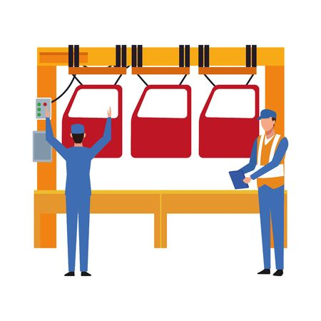 Mechanics with machine with car doors over white background, colorful design, vector illustration