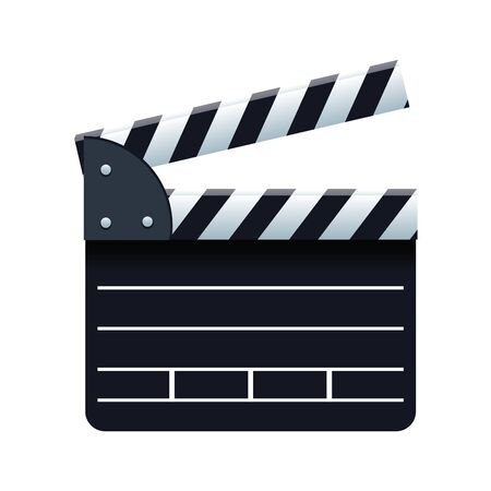 movie clapboard icon over white background, colorful design, vector illustration