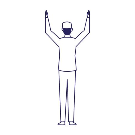 car mechanic with arms up over white background, flat design, vector illustration