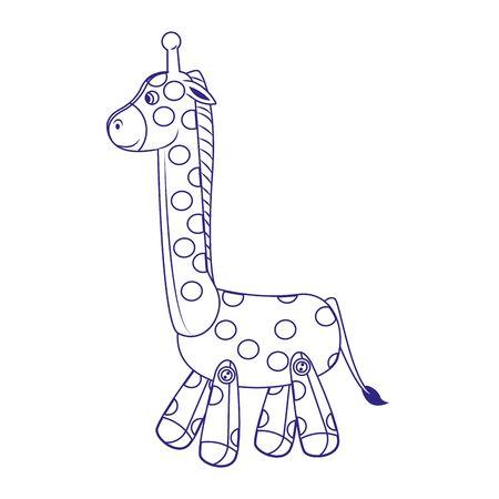 Icono de jirafa linda de dibujos animados sobre fondo blanco, diseño plano, ilustración vectorial