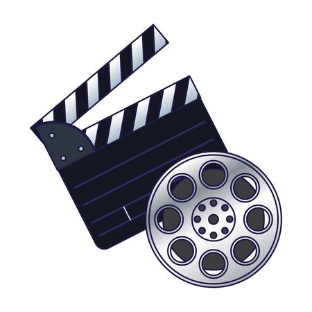 clapboard with film reel icon over white background, colorful design, vector illustration